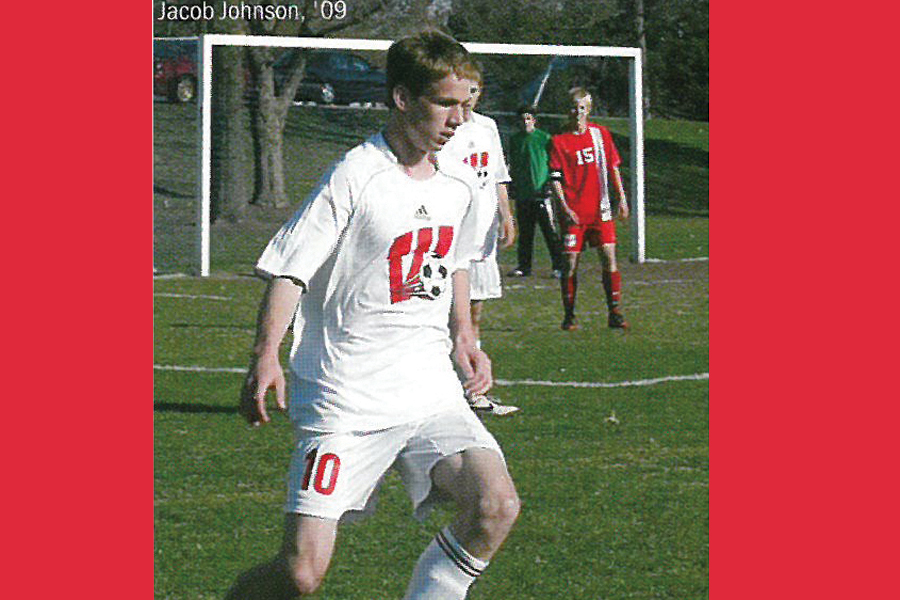Jacob Johnson playing soccer in high school