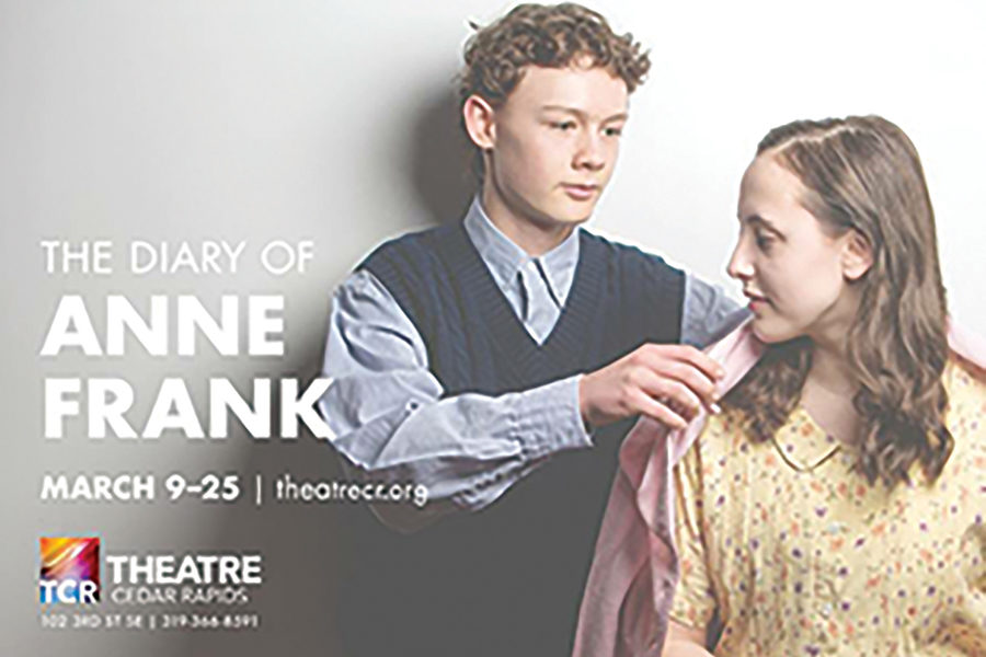Ian Wolverton-Weiss, '21, and Lily Palmershiem, '20, pose together in a promotional photo for Theatre Cedar Rapids. The pair portray characters Peter Van Daan and Anne Frank.