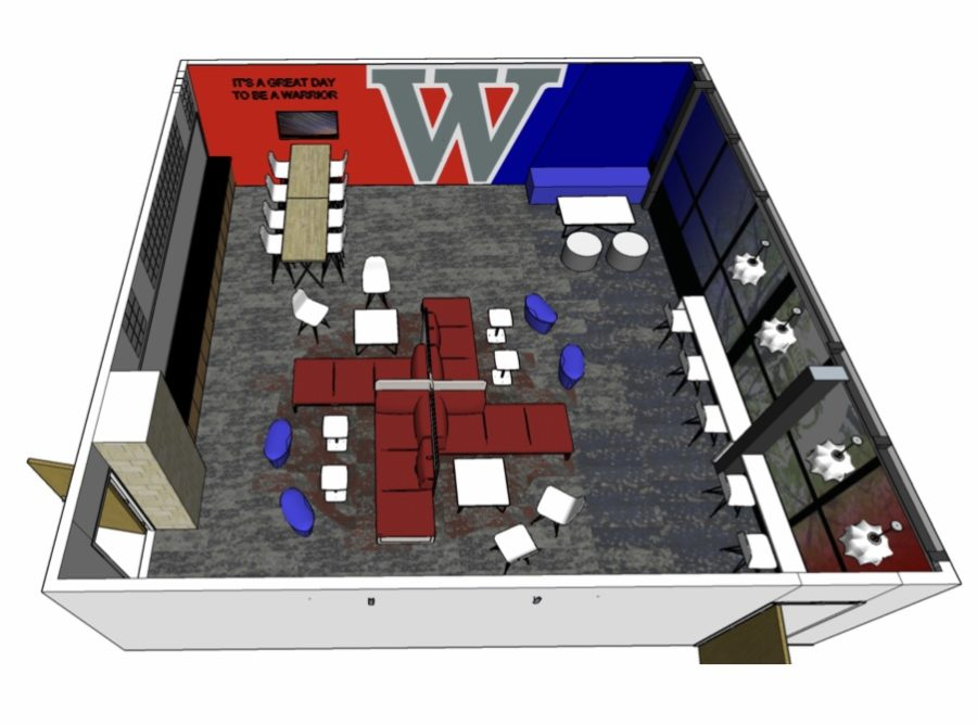 The model for the plans of the Student Center renovations. View from above the room.